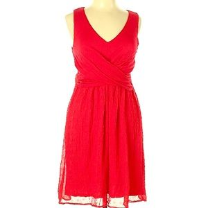 Anthropologie Red A-Line Chiffon Dress Knee-Length